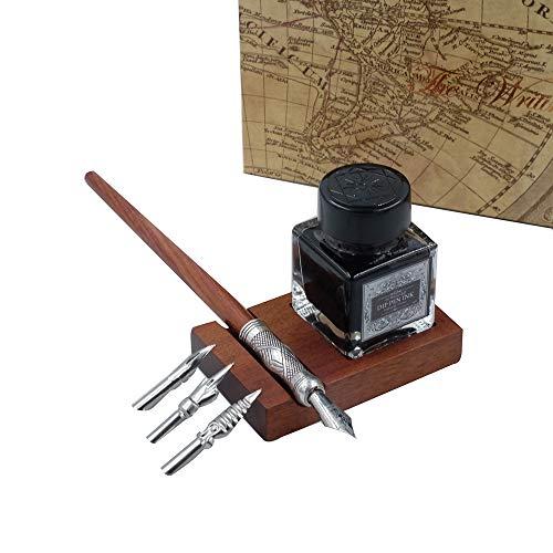 GC Kalligraphie-Stift-Set, handgefertigt, mit 3 Spitzen, schwarze Tinte, Flasche und Stifthalter LL-58