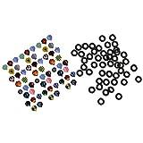 MagiDeal Set de 60pcs Ailettes pour Fléchettes Standard Dart Flights Vols Avec 100pcs Tige Rondelle pour Fléchettes O-Anneaux Accessoire Jeu de Fléchettes