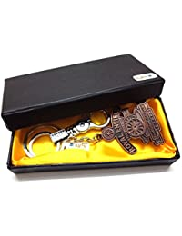 Atargoods 01pc Imported Metal Key Chain Royal Enfield Design Rare Locking Ring Keyring Keychain For Bikes, Cars...