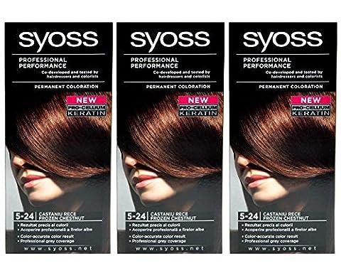 3x SYOSS Haarfarbe 5-24 KÜHLE KASTANIE - Farbgenaues