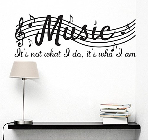 MAFENT It' s Not What i do It' s Who i AM Music Home Vinyl Wall Decals Quotes Sayings Words Arts Decors Lettering Vinyl Wall Stickers, 96,5cm l x 38,1cm H, Nero