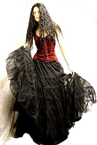Dark Dreams Gothic Mittelalter LARP Tüll-Rock Black Magic freesize, Farbe:schwarz