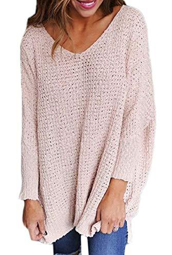 Langarm Shirt Damen Bluse Lange Ärmel Pullover Elegant Perfect Sweatshirt T Shirt Casual Slim Tops Blouse Oberteile Baumwolle Shirt Tops Leicht Rundhals Pullover Style (Color : Pink, Size : L)