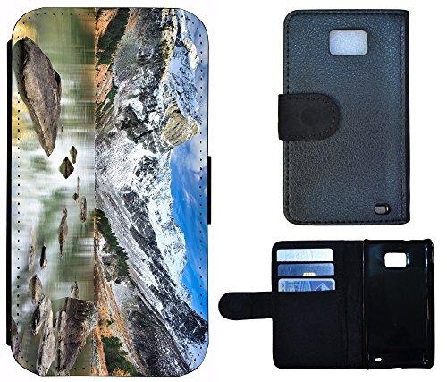 Flip Cover Schutz Hülle Handy Tasche Etui Case für (Apple iPhone 4 / 4s, 1293 Traumfänger Dreamcatcher Braun) 1290 See Berge Panorama