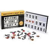 Lightbox, CompraFun Scatola Luminosa Lampada LED Cinema Light Box A4 Luce Calda Creativa con 96 Numeri Lettere Simboli Emoji Combinazione Libera per Matrimoni Casa Photoshoots Festa Compleanno Regali Natale San Valentino