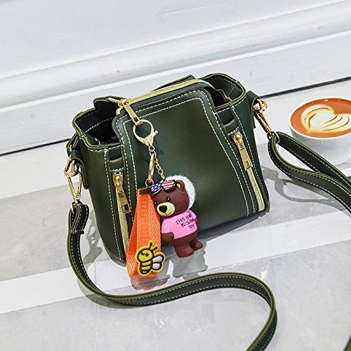 LiZhen il secchio d'acqua piccolo pacchetto nuovo le donne coreane borsa a tracolla messenger pacchetto Borsa elegante e semplice marea selvatico fresco verde di loopback di accessori di montaggio Fresco verde di loopback di accessori di montaggio
