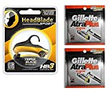 HeadBlade Sport Razor Handle with Atra Adaptor + Atra Plus Refill Razor Blade Cartridges 10 ct (Pack of 2)