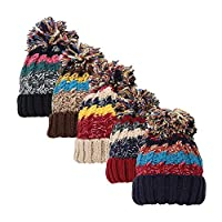 BABSUE Womens Girls Pom Hats Marl Chunky Knit Winter Bobble Snowboard Hat with Fleece Thinsulate Lining Green