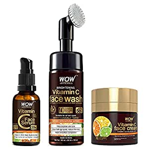 WOW Skin Science Vitamin C Face Ultimate 3 Kit with (Vitamin C Face Wash - Built In Brush + Vitamin C Serum + Vitamin C Face Cream) - 230mL