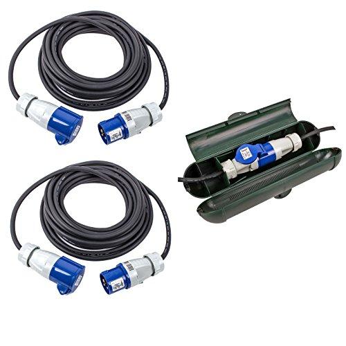 Preisvergleich Produktbild Soyang® - ProPlus CEE Kabel Set bestehend aus 2 x 10 Meter CEE Kabel + CEE Sicherheitsbox ideal für Wohnwagen, Wohnmobil und Boot