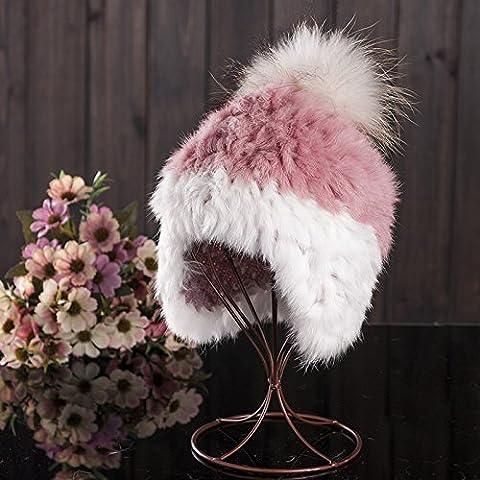 Qiaoba- Chapeau en laine de lapin à la fourrure élégant chapeau tricotant d