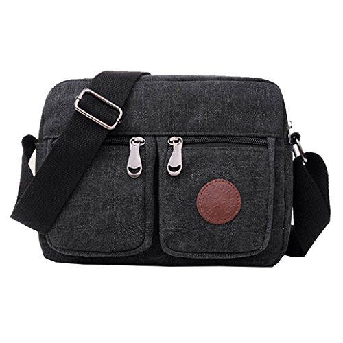 dc830702bea6b Super modernes Herren Kleine Vintage Canvas Messenger Bag CrossBodyTasche  Pack Organizer Umhängetasche Langlebig 4 Sling Umhängetasche Schwarz