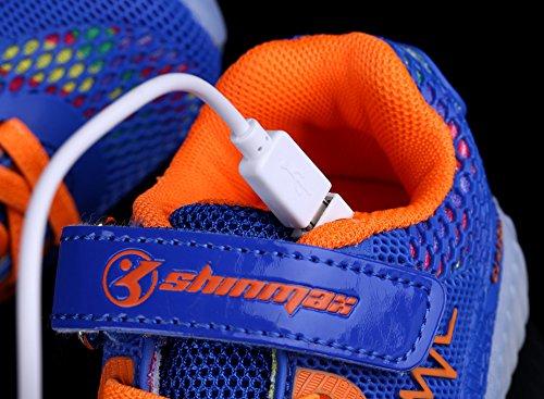 Shinmax Scarpe LED Primavera-Estate Nuovo Lanciato Kid Led delle Scarpe da Tennis Colore del LED 7 con Certificato CE Blu scuro
