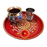 Salvus App Solutions Decorated Handmade Multicolor Om Pooja Thali for Karwachauth Festival
