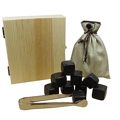 upere Premium Whisky Pierres Chilling Rocks Ice Cube Pierres à Whisky Coffret cadeau 9avec clip et sac cadeau noir