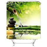 Nibesser Duschvorhang Anti-Schimmel wasserdichter Textil Duschvorhang Bambus und Stein Digitaldruck mit 12 Duschvorhangringe für Badezimmer (150cmx180cm)