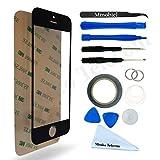 Front Glas für iPhone 5 5C 5S SE Schwarz Display Touchscreen mit 12 tlg. Werkzeug-Set / passgenauem PreCut Sticker / Pinzette / Rolle 2mm Klebeband / Saugnapf / Metall Draht / Mikrofasertuch MMOBIEL