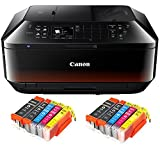 Canon Pixma MX725 MX-725 All-in-One Farbtintenstrahl-Multifunktionsgerät (Drucker, Scanner, Kopierer, Fax, USB, WLAN, LAN, Apple AirPrint) Schwarz + 10er Set IC-Office XL Tintenpatronen 550XL 551XL (Originalpatronen nicht im Lieferumfang)