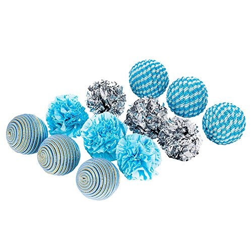 blueberry-pet-toys-for-cat-ocean-beach-theme-aquamarine-balls-cat-toy-12-piece-pack