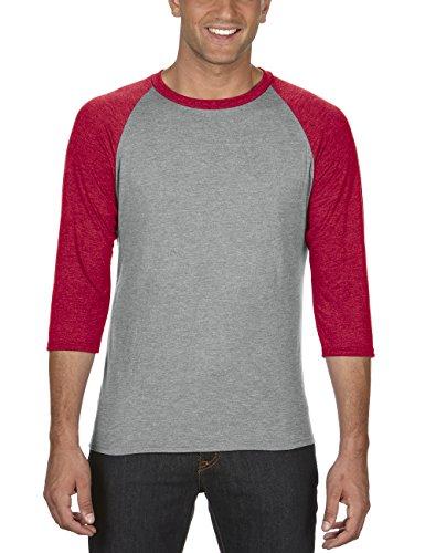 anvil Herren Tri-Blend Raglan T-Shirt mit 3/4 Arm / 6755, Mehrfarbig, Gr. Large, Grau (HGY/Heather Red GK346) -