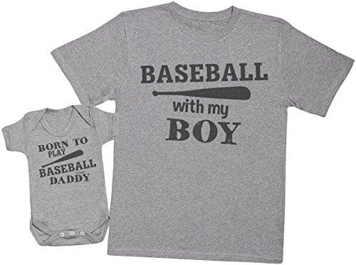 Zarlivia Clothing Born to Play Baseball with Daddy - Passende Vater Baby Geschenkset - Herren T-Shirt & Baby Strampler/Baby Body - Grau - Small & 3-6 Monate -