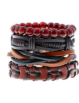 Soleebee Punk Niet Retro PU-Leder Hanfseil Mehrschichtige Wristband mit Perlen handgemachtes Armband Wickelarmband