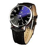 YaZhuoLun Herren Armbanduhr Quarzuhr Legierung PU-Leder Wasserdicht Uhren Uhr Geschäftsuhr Schwarz