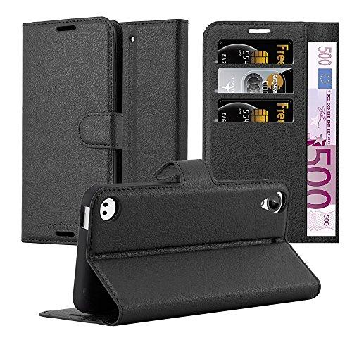 Cadorabo Hülle für HTC Desire 530/630 - Hülle in Phantom SCHWARZ – Handyhülle mit Kartenfach und Standfunktion - Case Cover Schutzhülle Etui Tasche Book Klapp Style