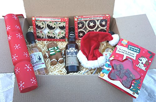 DOG CHRISTMAS HAMPER WINES BEER CRACKER MINCE PIES & XMAS PUDS HAT & TREAT FILLED XMAS CARD