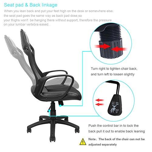 confronta il prezzo Sedia schienale alto ergonomico, Sedia girevole da ufficio e da casa, Poliestere e Nailon,Sedia del computer,Nero miglior prezzo