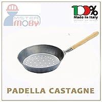 Padella in metallo per cucinare le castagne sulla braceManico in legnoDiametro 30 centimetriProdotto artigianale realizzato in Italia