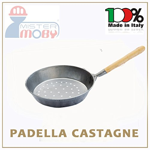 PADELLA CASTAGNE MANICO LEGNO DIA 30 CM CUOCI CASTAGNA CALDARROSTE MADE IN ITALY
