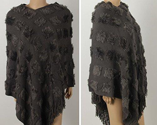 Femme Poncho Lâche Avec Franges Cape Tricoté Au Crochet Manteau Veste Pull Gris