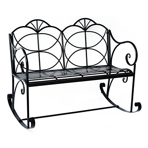 Outsunny Double-Sitzer Metall Garten-Stuhl im Rocken, Bench Liebesschaukel Innenhof Rocker Veranda Shabby Chic Dekor Eisen Glider Stühle