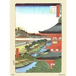 onthewall Hiroshige japonés Póster El Pogoda de Zojoji (PDP 52)