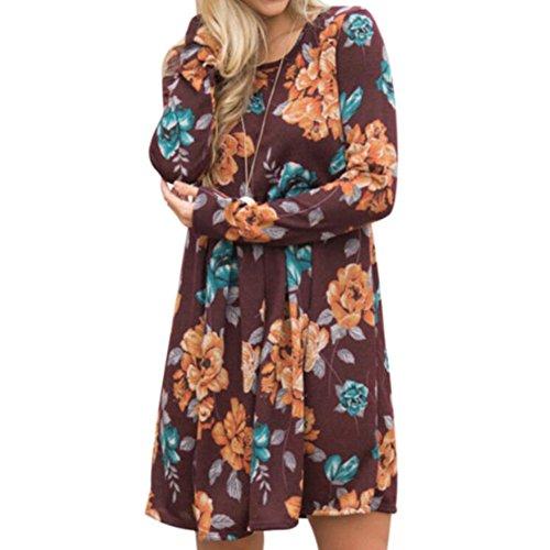Robes Femmes Mini Robe Blouses Longues Fleurs Imprimées Robes T-shirts Swing Robe Décontractée Bureau Travail Juleya #1