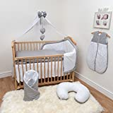 10 Piece Cot Bedding Set with Safety Padded Bumper (Fits Cot Bed 140x70 cm, Pattern 2)
