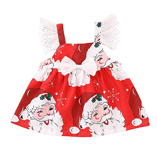 Prinzessin Party Mini Kleid MEIbax Kleinkind Kinder Baby Mädchen Sleeveless Cartoon Print Kleid Weihnachten Kleidung Tops t-Shirt-Kleid Print-mini-kleid Top