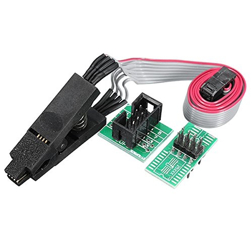 ILS - 8 Pin 1.27mm Pitch SOIC8 SOP8 Flash Burning Chip IC Test Clip Socket Adapter BIOS / 24 / 25 / 93 Programmer With 2 pieces Power Module (Connector Female Pin 25)