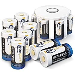 Rechargable CR123A Piles Li-ION Rechargeables, Keenstone CR123A 17345 Batterie 3.7 V 700 mAh pour Caméra Arlo VMC3030/3130/3230/3330/3430,avec Chargeur de 8 Compartiment et 2 Housse en Silicone(12PCS)