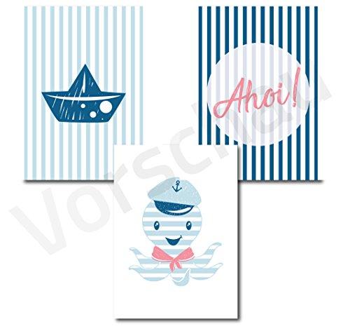 Papierschmiede 3er Set Bilder Kinderzimmer Deko | Junge Mädchen | 3 Poster à 21cm x 21cm | fürs Babyzimmer ohne Bilderrahmen Kinderposter Kunstdruck | Motiv: Oktopus