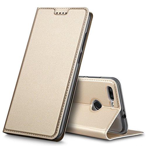 BoseWek ZTE Blade V9 Hülle, Flip Case mit Standfunktion Schutzhülle Tasche [Magnetverschluss] Hüllen Handyhülle für ZTE Blade V9 Smartphone (Gold)