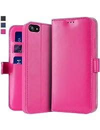 OJBKase Funda Compatible con iPhone SE(2020), Premium PU Funda Cubierta Interior TPU [Soporte] [Ranuras para Tarjetas] [Magnético] Protección Case para Apple iPhone SE(2020) (4,7 Pulgadas) (Rosado)