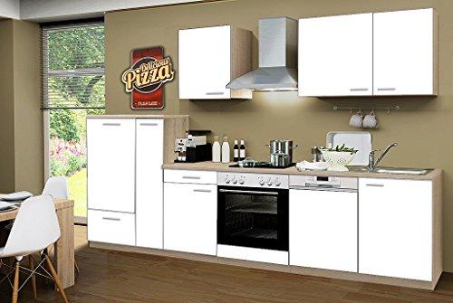 idealShopping Küchenblock mit Geschirrspüler und Ceranfeld Classic 310 cm in weiß
