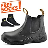 SAFETOE Water Resistant Safety Work Boots [CE Certified] - 8025 Free Sock S3 Site Safety Shoes with Lightweight Wide Fit Steel Toe Cap, Black Waterproof Slip On Dealer Work Boots for Men & Women Size