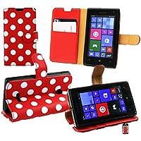 Emartbuy® Microsoft Lumia 532 / Lumia 532 Dual Sim Premium PU Lederetui Tischladestation Geldbörse Tasche Hülle Polka Dots Rot Weiß mit KRotitkartenfächern