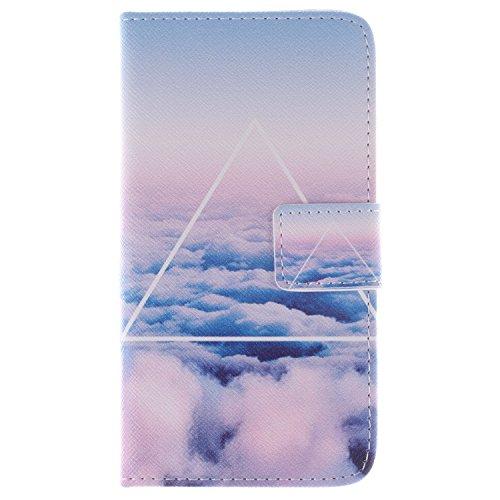 Skytar S6 Case,Galaxy S6 Handyhülle - PU Leder Cover Case Stand Schutzhülle Flip Etui Tasche für Samsung Galaxy S6 SM-G920F Hülle Schutzhülle,weiße Wolken