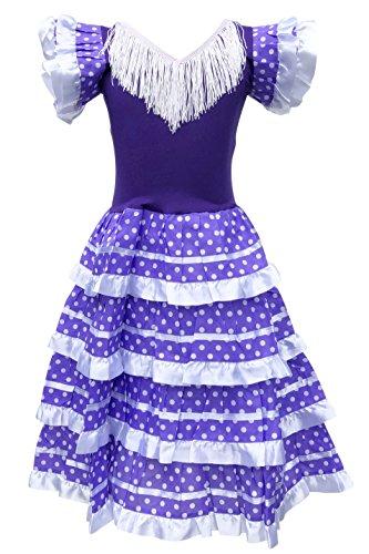 La Senorita Spanische Flamenco Kleid - Violet Weiß - Größe 128-134 - Länge 85 cm - für 7-8 ()