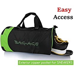 Bag-Age Duffle Bag Sports Gym Travel Luggage Including Shoes Compartment Women & Men Croop (Black )
