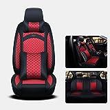 YE Sitzbezügesets PU Leder Auto Sitzbezug 5 Sitze Allzweck Kompatibel mit Airbag und Split Rear Seat Fit Meisten Auto, LKW, SUV, Oder Van Schwarz/Rot (Größe : Deluxe Edition)